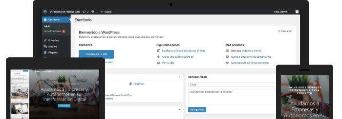 Simulación WordPress Responsive